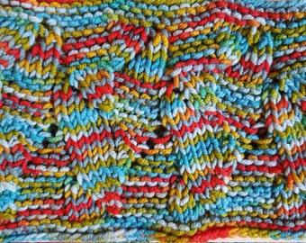 Handknit multicolor cowl wool warm soft orange cowl blue cowl striped cowl shrimp colors