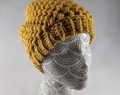 Mustard Yellow Crocheted Winter Hat, Puff Stitch Winter Beanie, Adult Size Unisex, Yellow Slouchy Hat