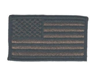 American Flag Patch - United States of America USA - Olive Drab Green (Iron on)