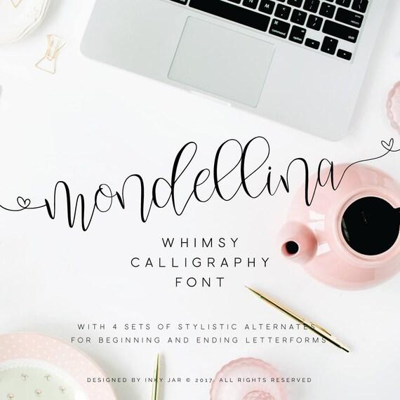 Mondellina script logo pack font