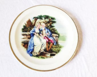 Bavaria Plate Romantic Man And Woman On A Bench Vintage Bavaria China Victorian Plate Romance