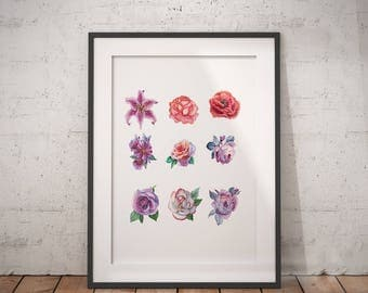 Floral Chart | Floral Wall Art, Watercolor Floral, Flower Growth Chart, Flower Branch Chart, Flower Art, Red Floral Wall Art, Pink Flowers