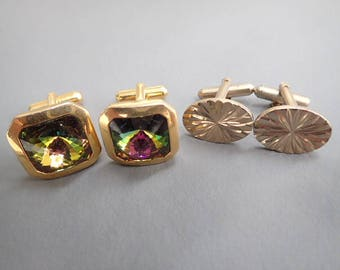 Vintage 1970's Gold Tone Cuff Links Wedding Suit Fancy Dress