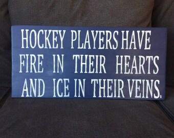 hockey players, hockey sign, wood sign