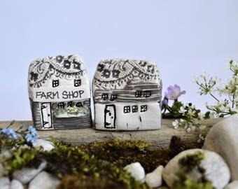 LCAC Thumb Print Cottages - Village Set #1 Shops and Houses Clay Ceramic Village Miniatures Building Farm Shop and Farm House