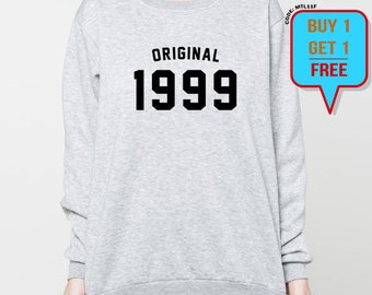 18th Birthday sweatshirt birthday sweater 18th birthday gift 90's original 1999 unisex crewneck sweatshirts grey black S M L XL