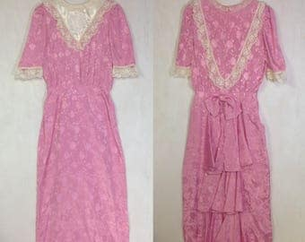 80's Vintage Pink Satin & Lace ,Ruffled ,Fitted, mid length dress