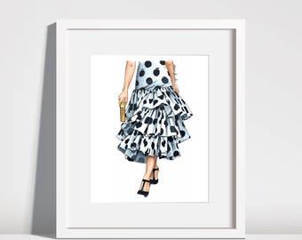 Polka dot skirt fashion illustration original