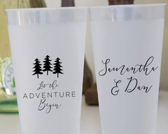 Let the Adventure Begin Personalized Wedding Shatterproof Wine Cups, Frosted Cup, Wedding Cups,  Wine Cup, Bar Cups, Shower Cups (WP-16)
