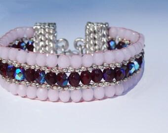 SeadBead Bracelet,Beadloom Bracelet,loomed Bracelet,Christmas Gift,Sterling Silver,Pink, Ruby Bracelet,Gift for her,Beaded Bracelet,Boho