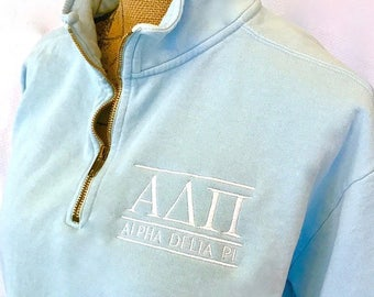 ANY letters - Any color!  Comfort Colors quarter-zip sweatshirt with embroidered Greek letters and sorority name