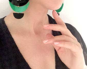 Oversized Turquoise Black Green Statement Earrings, Hand-painted Black and White Geometric, Acrylic Chandelier Earrings
