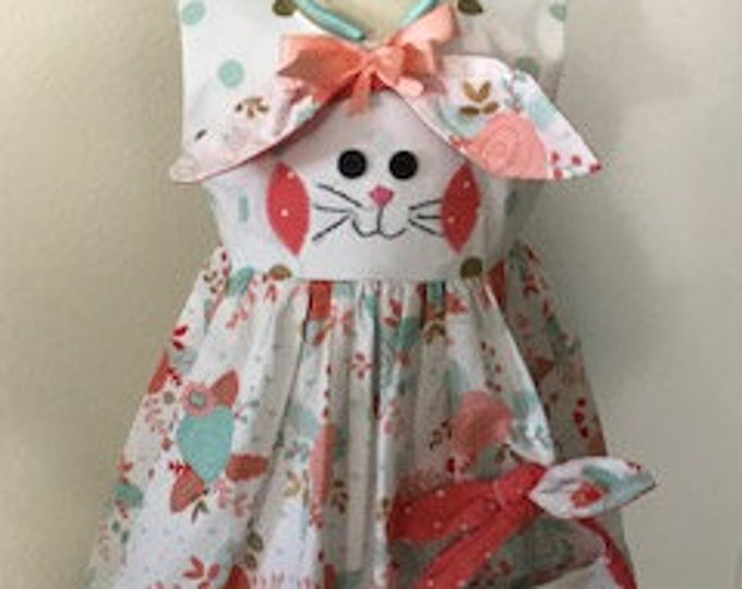 Featured listing image: Girls Easter Dress, Girl Bunny Rabbit dress, Easter Purse, Easter Headband, Floral Easter dress, Peach and Mint, Toddler Girl Easter outfit