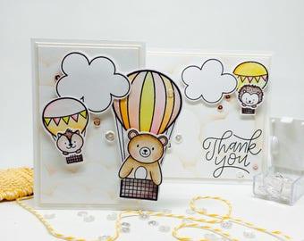 Handmade Thank You Card - Tri-Fold - Hot Air Balloons