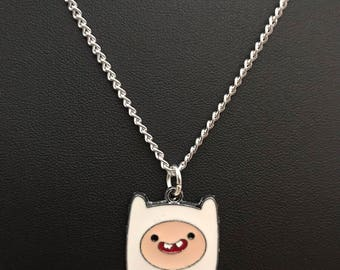 Silver Plated Adventure Time Finn Necklace