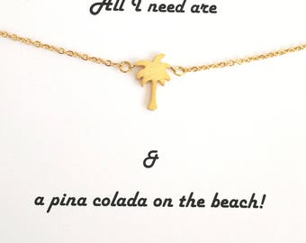 Palm Tree Necklace, Gold Palm Tree Necklace, Tiny Palm Tree Necklace, Beach Necklace, Tropical Necklace, Summer Necklace, Palm Tree