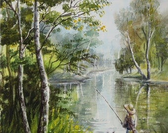 Landscape watercolor painting Birch trees painting nursery wall art decor Fishing gift|for|boyfriend gift|for|husband gift  fishing painting