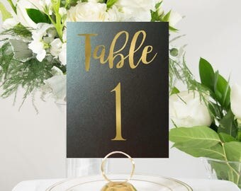 Black and Gold Foil Table Numbers Handmade Wedding #0102NB