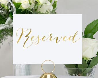 Gold Foil Reserved Wedding Sign, Handmade, Available in rose gold, Silver, Copper Foil