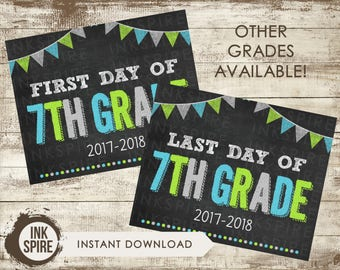 Printable First and Last Day of 7th Grade School Chalkboard Sign, Back to School Sign, School Chalkboard Poster, INSTANT DOWNLOAD