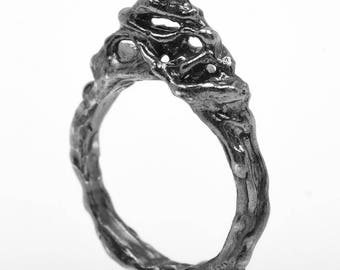 Handcrafted silver black rhodium plated ring