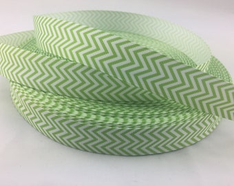 Apple green chevron Grosgrain ribbons, apple green chevon ribbons, Available in 7/8""