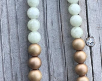Green Jade and Gold Beaded Necklace