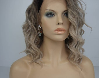 Brown Root Ash Blonde/Light Brown Mix Medium Length Loose Wave  Synthetic Soft Swiss Lace Front Wig