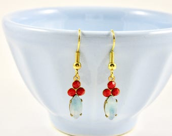 Cherry Red & Aquamarine Blue *SHELLY* Vintage Jewel Dangle Earrings