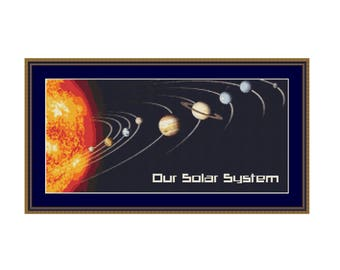 Our Solar System Counted Cross Stitch Pattern / Chart, Instant Digital Download (AP196)