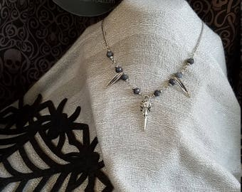 Raven Skull and Grey Agate Necklace