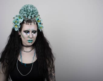 Teal floral headdress