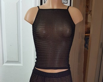 The Cami Shop Camisole, High Neck Fishnet