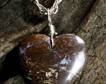 Lovely Boulder Opal Heart Pendant on Sterling Silver Necklace