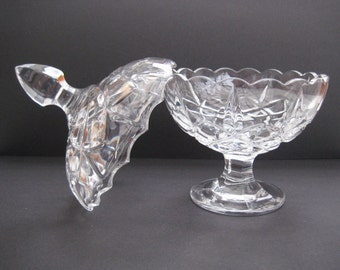Vintage Crystal glass vase, sweets vase with dome lid, made in Yugoslavia
