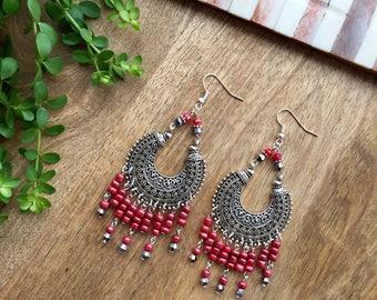Long Bohemian Coral Earrings - Boho Style earrings - Tribal Earrings - Bali Earrings - Gypsy Style Earrings - Pink Earrings - Shiny Earrings