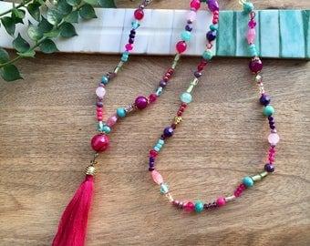 Boho Necklace Tassel Necklace Gemstone Necklace Fringe Necklace Long Boho Beaded Necklace Hippie necklace Boho Jewelry Agate Necklace