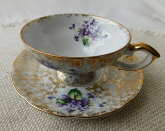 Vintage Violets Tea Cup & Saucer Napco Handpainted China