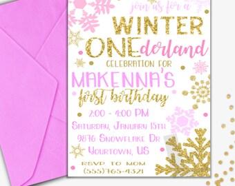 ONEderland Birthday Invitation | ONEderland Invitation | First Birthday Invitation |  Winter Invitation | Digital Invitation | Design 17080