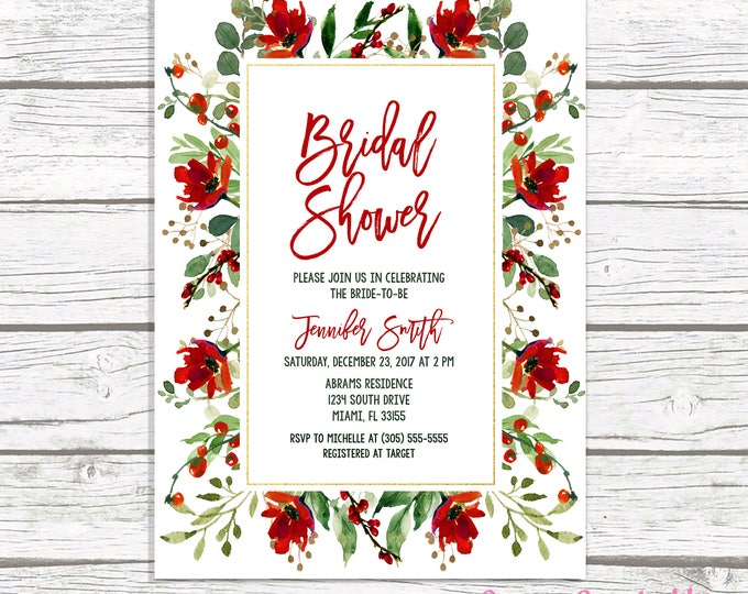 Christmas Bridal Shower Invitation, Holly Bridal Shower Invitation, Red Floral Bridal Shower, Christmas Floral Invite, Rustic Christmas