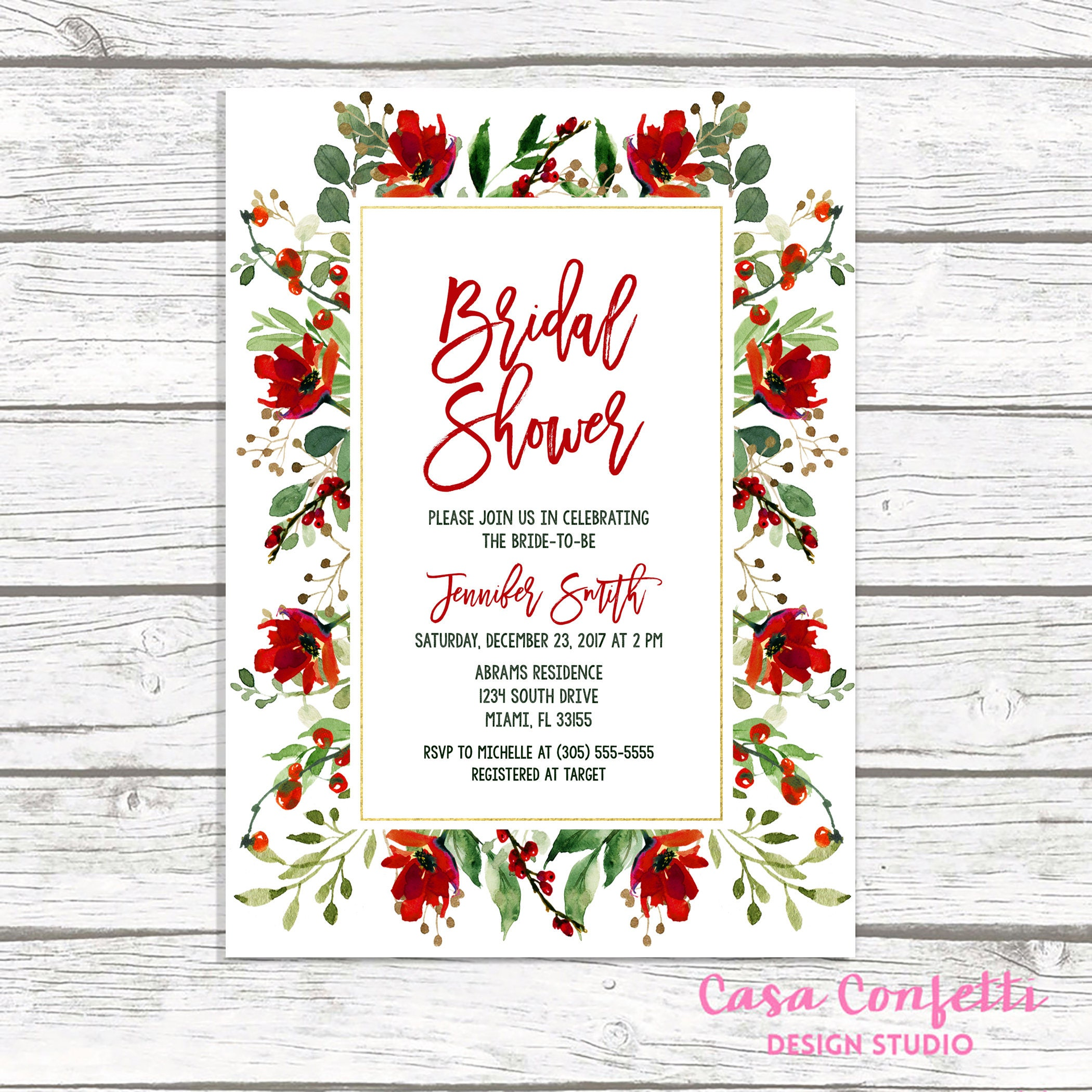 christmas bridal shower invitation holly bridal shower for christmas wedding shower ideas