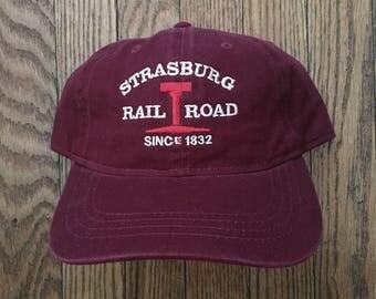 Vintage Minimal Strasburg Rail Road Unstructured Strapback Hat Baseball Cap