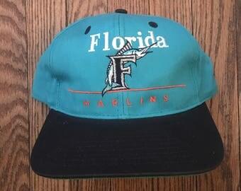 Vintage 90s Florida Marlins MLB Snapback Hat Baseball Cap