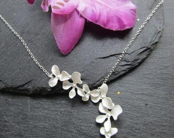 Silver Plated Cascading Orchids Necklace, Japanese Necklace, Oriental Necklace, Orchid Necklace, Floral Necklace, Orchid Jewelry, Orchids