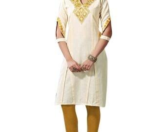 Indian Cream Color Khadi Pure Cotton Kurti Kurta for Ethnic Women Tunic Dress