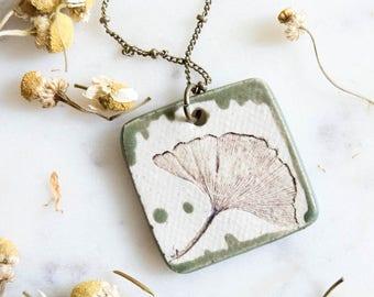 Ginkgo Leaf Ceramic Pendant