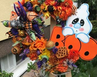 Halloween Ghost Wreath, Wicker Wreath, Halloween Home Decor, Halloween Front Door, Halloween Ghost Decor, Wooden Ghost, Boo Sign