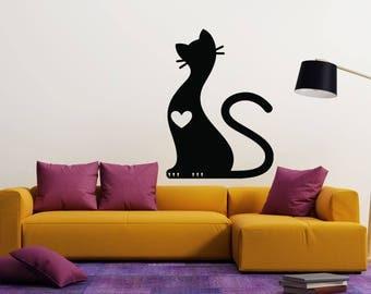 Wall Vinyl Decal Cute Fluffy Cat Soft Claws Nursery Room Decor Decal (2425dn)