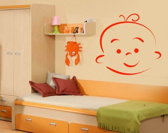 Wall Vinyl Decal  Baby Cartoon Face Expression of Different Emotion Decor for Kids Room (#2485dn)