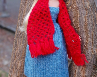 Red tippet and dress for Moxie Teenz Scarf for doll Knitting for dolls Clothes for dolls outfit for Moxie Teenz Doll clothing dresses